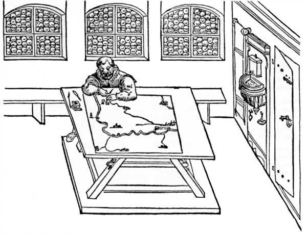 Woodcut picture of a cartographer