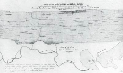 Map drawn by indians on birch-bark